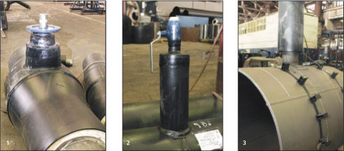 Рис. 5. Шаровые краны на трассе (1) и ответвлениях (2), а также воздушные клапаны (3) полностью готовы к установке на трассе